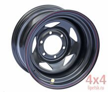 Диск OFF-ROAD WHEELS 16х8 6x139,7 d110 ET-19  (Чёрный, треуг.)
